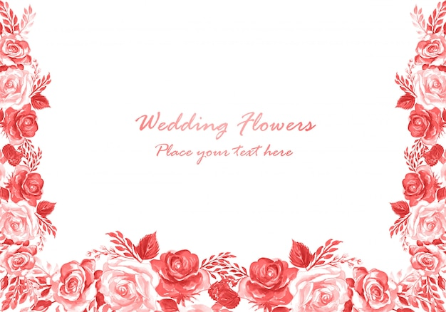 Szablon karty akwarela kwiaty ozdobne zaproszenie na ślub
