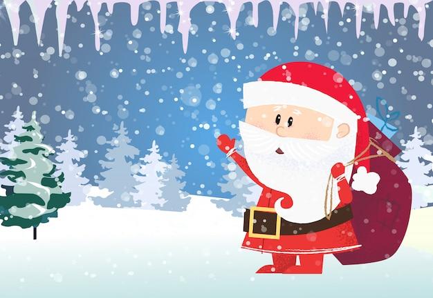 Szablon karty boże narodzenie i nowy rok. mikołaj niosący prezenty
