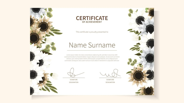 Szablon karty certyfikatu w abstrakcyjnych kwiatach kwiatowy