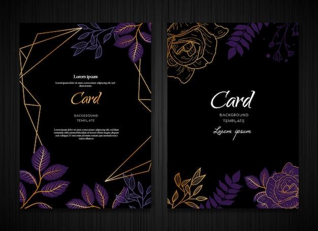 Szablon karty ciemne fioletowe tło kwiatowy