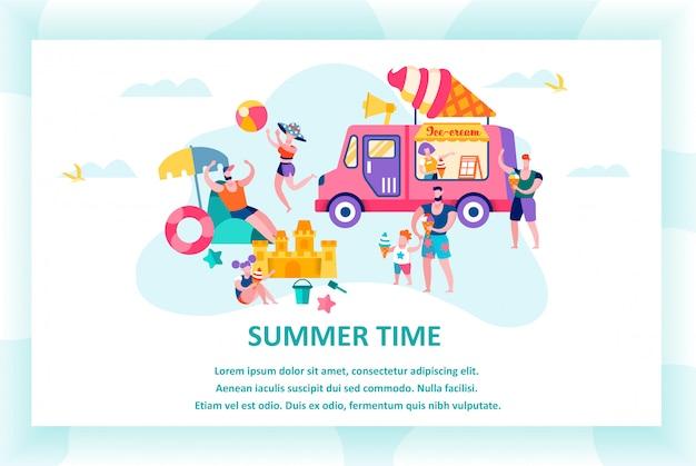 Szablon karty czasu letniego, szczęśliwa rodzina korzystających zrelaksować się