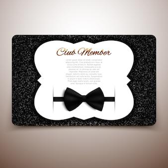 Szablon karty członka klubu, klub dżentelmenów, karta vip, czarna kokarda