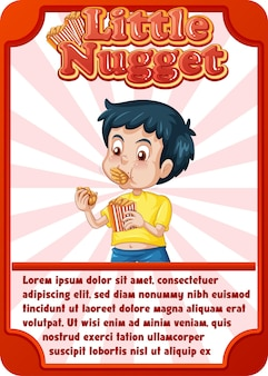 Szablon karty do gry postaci ze słowem little nugget