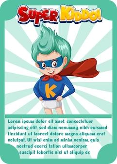 Szablon karty do gry postaci ze słowem super kiddo