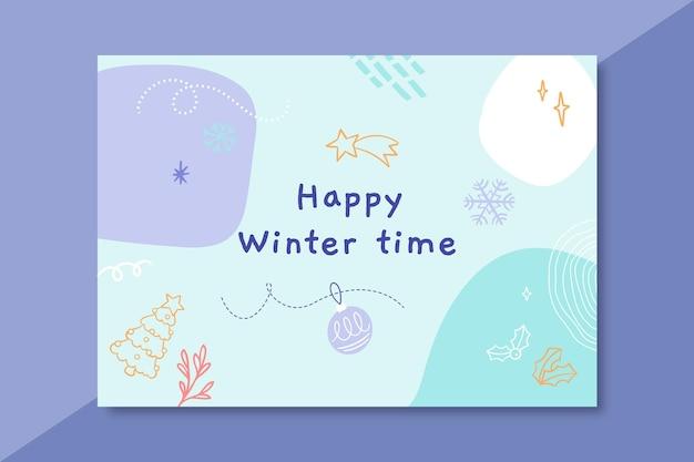 Szablon karty doodle kolorowy zimowy rysunek