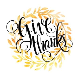 Szablon karty dziękczynienia. akwarela malowane wektor jesienne liście. ilustracja wektorowa eps 10