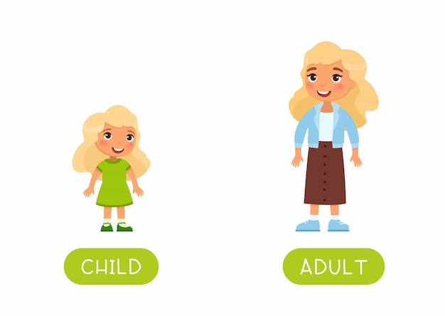 Szablon karty edukacyjnej flash języka obcego. karta słowna do nauki angielskiego. przeciwieństwa, pojęcie wieku, dorosły i dziecko. dorośleć kobiety i małej dziewczynki płaską ilustrację z typografią