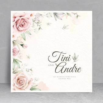 Szablon karty elegancki kwiatowy ślub