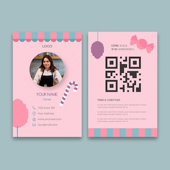 Szablon karty identyfikacyjnej firmy różowy cukierek