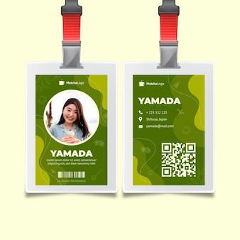 Szablon karty identyfikacyjnej herbaty matcha