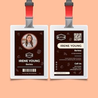 Szablon karty identyfikacyjnej kawy