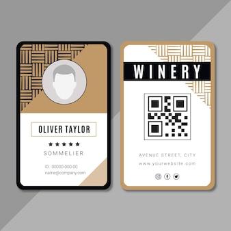 Szablon karty identyfikacyjnej marki wina