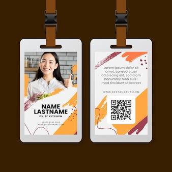 Szablon karty identyfikacyjnej restauracji brunch