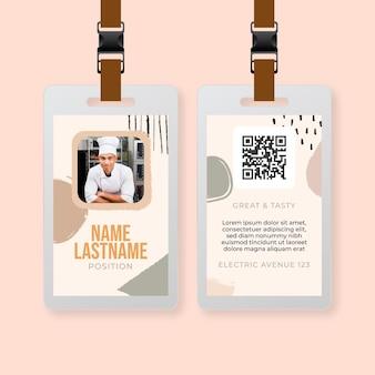 Szablon karty identyfikacyjnej restauracji niedzielny brunch żywności