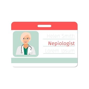Szablon karty identyfikacyjnej specjalisty nefiologa medycznego