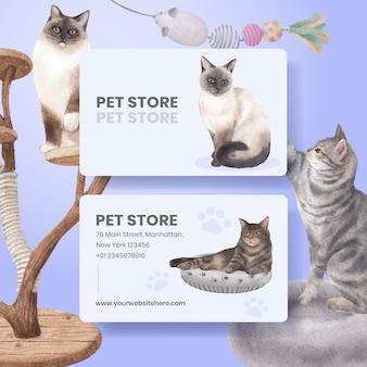 Szablon karty imiennej z uroczym kotem