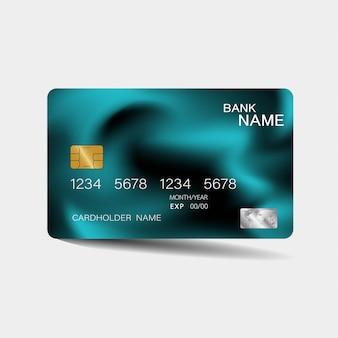 Szablon karty kredytowej z niebieskimi elementami