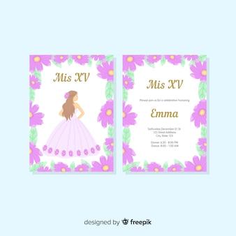 Szablon karty kwiatów księżniczka quinceanera