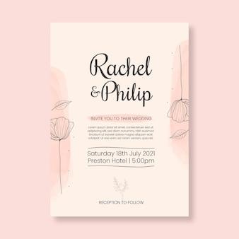 Szablon karty kwiatowy minimalistyczny ślub