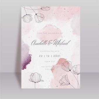 Szablon karty kwiatowy ślub akwarela