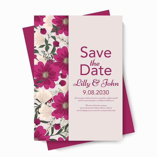 Szablon karty kwiatowy ślub