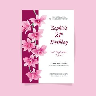 Szablon karty kwiatowy urodziny