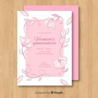 Szablon karty kwiatowy winorośli quinceanera