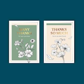 Szablon karty kwiatowy z wiosną linii koncepcji projektu akwarela ilustracja