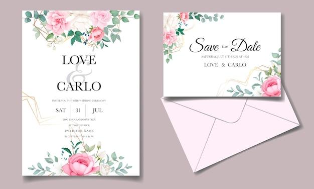 Szablon karty kwiatowy zaproszenia romantyczny ślub