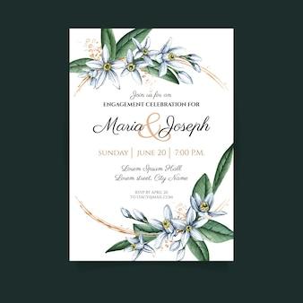 Szablon karty kwiatowy zaręczyny