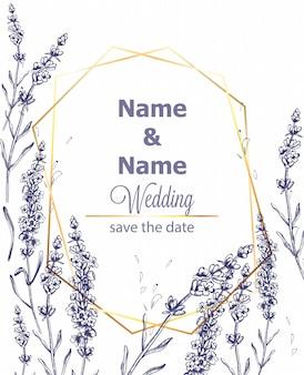 Szablon karty lawendy rocznika linii sztuki lato ceremonii ślubnej zaproszenia szablonu