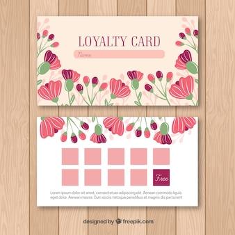 Szablon karty lojalnościowe z kwiatami