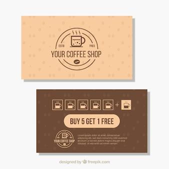 Szablon karty lojalnościowej nowoczesny sklep z kawą
