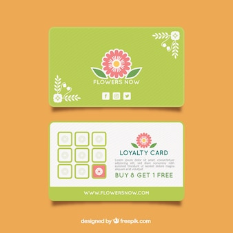 Szablon karty lojalnościowej z kwiatowym stylu