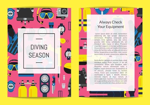 Szablon karty lub broszury dla firmy nurkowej lub kursów z ikonami wyposażenia w stylu płaskim