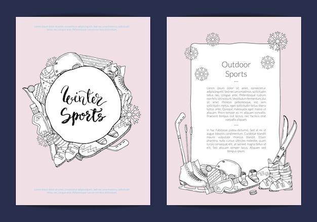 Szablon karty lub ulotki do sklepu sportowego lub szablonu zimowego kurortu