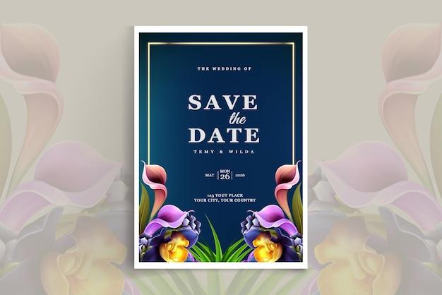 Szablon karty luksusowego zaproszenia na ślub