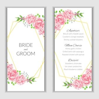Szablon karty menu akwarela różowy kwiat