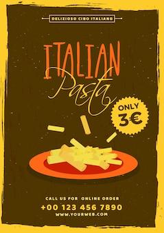 Szablon karty menu makaron włoski lub projekt ulotki.
