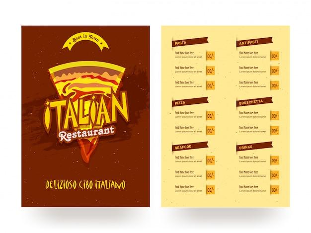 Szablon karty menu włoskiej restauracji lub projekt ulotki.