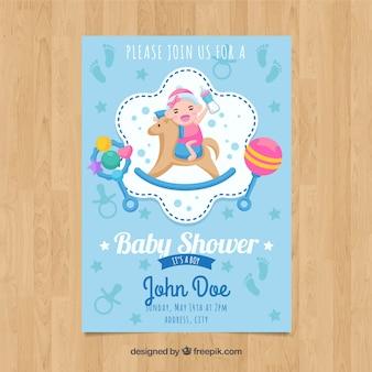 Szablon karty niebieski baby shower