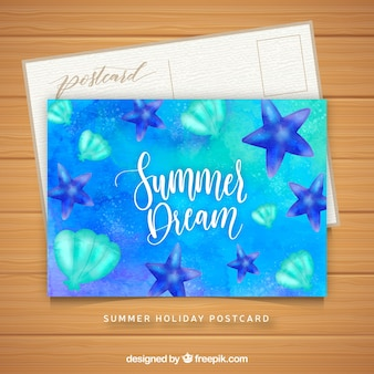 Szablon karty niebieskie lato akwarela