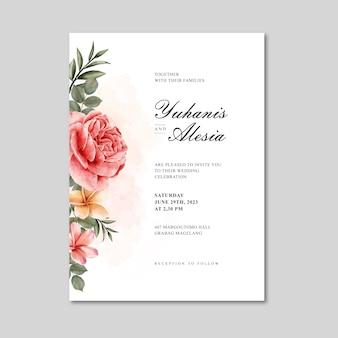 Szablon karty piękny ślub