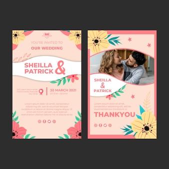 Szablon karty pionowe wesele kwiatowy