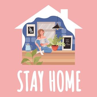 Szablon karty pobytu w domu. kobieta siedzi w kuchni i pije herbatę podczas globalnego wybuchu koronawirusa.