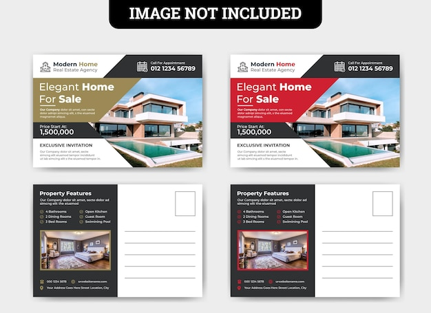 Szablon karty pocztowej sprzedaży domu nieruchomości