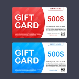 Szablon karty podarunkowej czerwony i niebieski. kupon o wartości 500 dolarów. ilustracja.