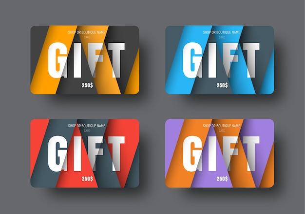 Szablon karty podarunkowej w nowoczesnym stylu materiałowym z unoszącymi się, zachodzącymi na siebie papierami.