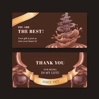 Szablon karty podarunkowej z koncepcją światowego dnia czekolady