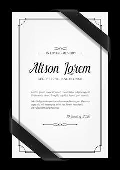 Szablon karty pogrzebowej z czarną ramką, wstążkami żałobnymi w rogach, miejscem na imię i nazwisko, daty urodzenia i śmierci. nekrolog, karta pogrzebowa kondolencyjna, w kochającej typografii pamięci